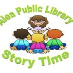 Aiea public library story time, reader with kids sitting at story time