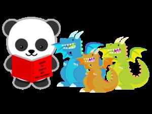 Panda reading to dragons