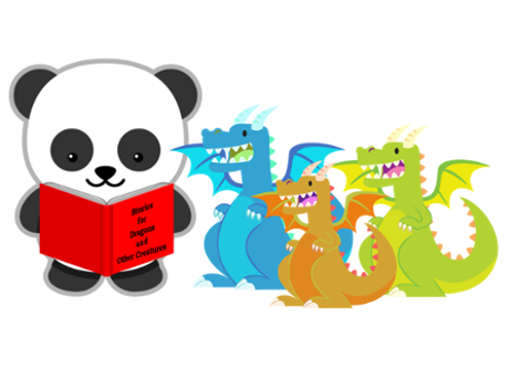 Panda reading to dragons