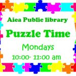 Aiea puzzle time with a rainbow puzzle piece border