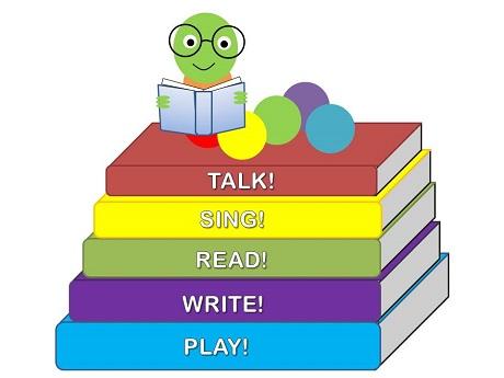 Cartoon caterpillar with books