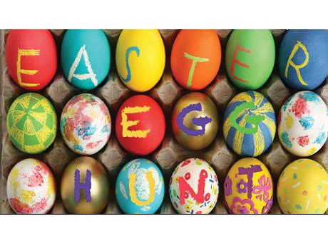 photo of eggs spelling Easter Egg Hunt