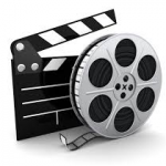 movie reel and clapperboard
