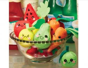 cute fruit and vegetable shapes in a glass bowl
