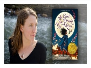 Kelly Barnhill and cover of her Newbery book