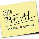 "Post-it note with words ""Get Real--Financial Reality Fair"""