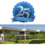 25th anniversary seal with photo of Salt Lake-Moanalua Public Library