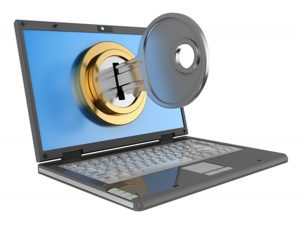 Laptop with a door lock on the screen