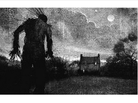Black and white drawing of a monster walking toward a house