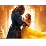 Tall beast dances with Beauty in a yellow dress