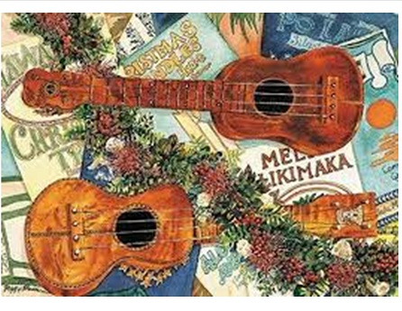 drawing of ukulele and holiday decorations