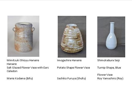 images of 3 flower vases used in Japanese tea ceremony and captions with artisan's names and type of vase