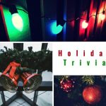 holiday trivia text in photo collage with christmas lights, bells, and ornaments