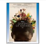 Queen of Katwe movie poster girl with head bowed and chess pieces floating above
