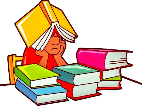 student studying with books