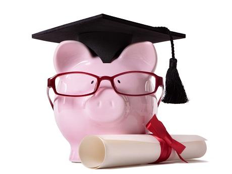 Pink Piggy Bank with graduation cap and diploma