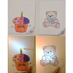 two examples of greeting cards made with paper circuits