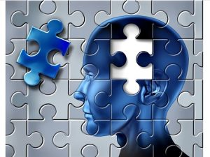 Puzzle depicting alzheimer's disease