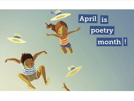 boy and girl jumping in air with hats flying, text says April is poetry month!