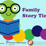 Family Story time logo, sponsored by Prevent Child Abuse Hawaii and PACT