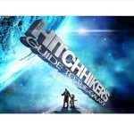 Two figures in space with the words from book title Hitchhiker's Guide to the Galaxy