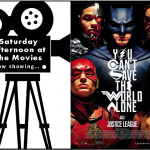 Saturday Afternoon at the mOvies Logo featuring Justice League