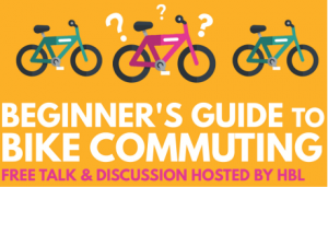 """clipart bikes with title """"beginner's guide to bike commuting"""""""
