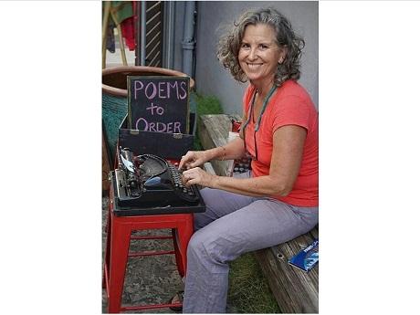 Woman at a typewriter