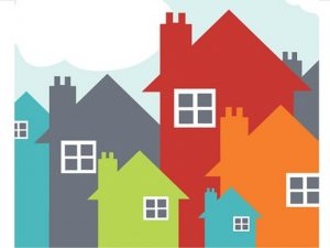 houses in different colors clipart