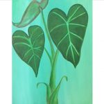 painting of green kalo plant against a blue background