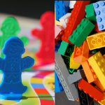 Candyland game pieces and LEGOs