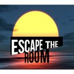 Sunset + ocean with text 'Escape the Room'