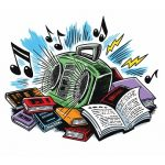 Boombox sitting on top of open books with floating musical notes