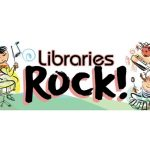 Keiki playing instruments around Libraries Rock! logo