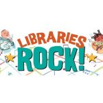 Keiki playing instruments around an orange and blue Libraries Rock! logo