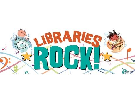Keiki playing instruments around an orange and blue Libraries Rock! logo