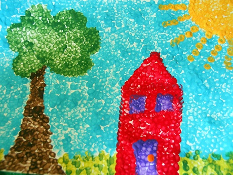 Q tip art with house, tree and sun