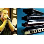 Color images of harmonica performer Danilo Marrone and 3 harmonicas stacked