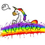 Unicorn by a rainbow
