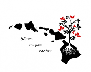 Hawaii islands icon that says 'where are your roots?'