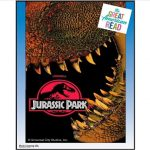 Film poster with massive mouth of Tyrannosaurus Rex biting film title