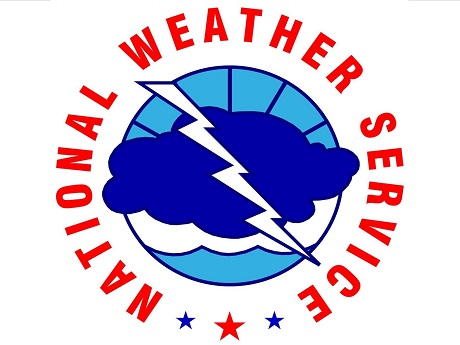 National Weather Service logo: a cloud with lightning bolt striking, surrounded by name