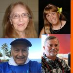 4-photo collage of the faces of Hawaii Fiction Writers group members Gail Baugniet, Laurie Hanan, Michael Little, and John Simonds