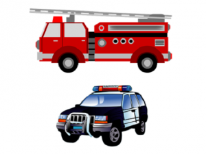A firetruck and a police car