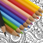 colored pencils and coloring sheet