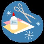 clipart image depicting glue scissors paper