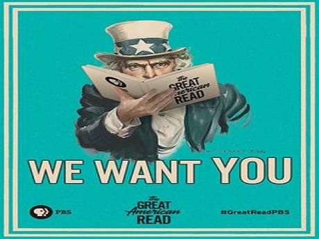 Poster that says 'We Want You' for the great american read