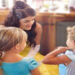 Princess Belle talking to children