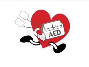 AED logo: a red heart with legs and an AED in its hand, running