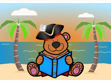 Cartoon of teddy bear in pirate hat reading a book